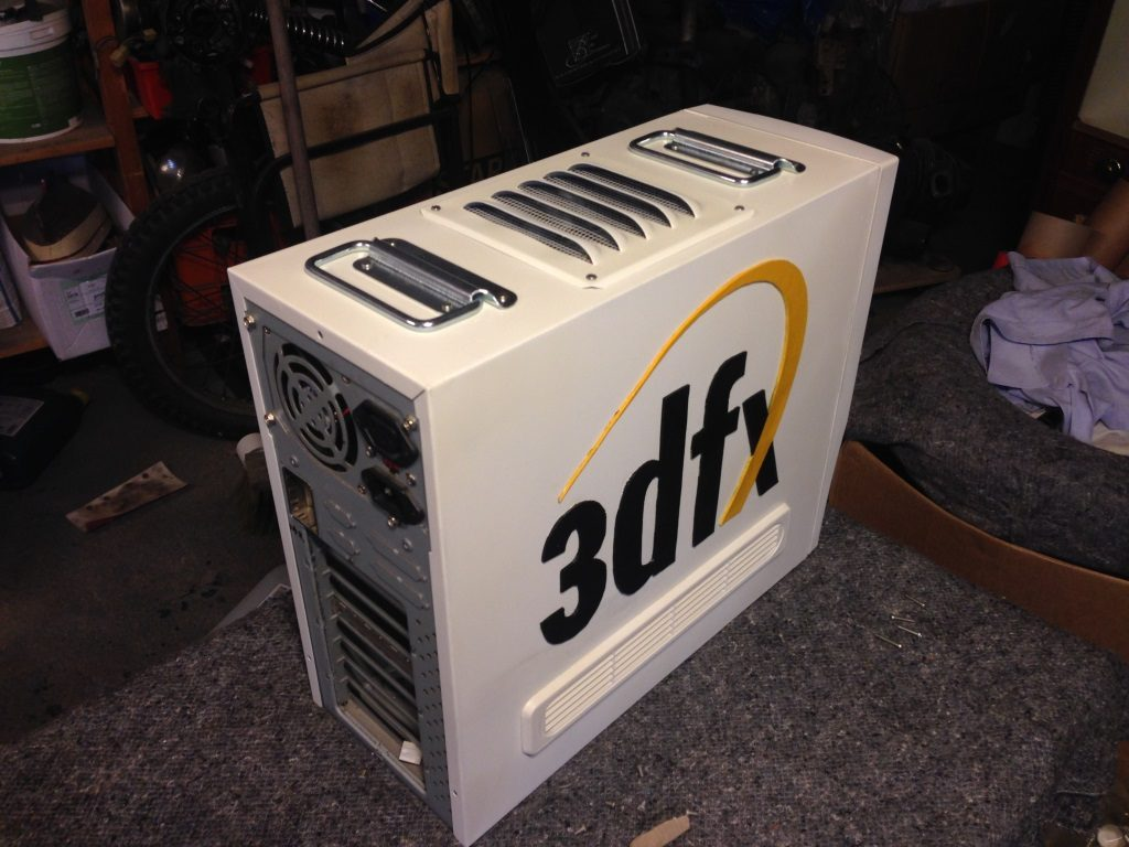 modded 1998 gaming build case 3dfx logo garage