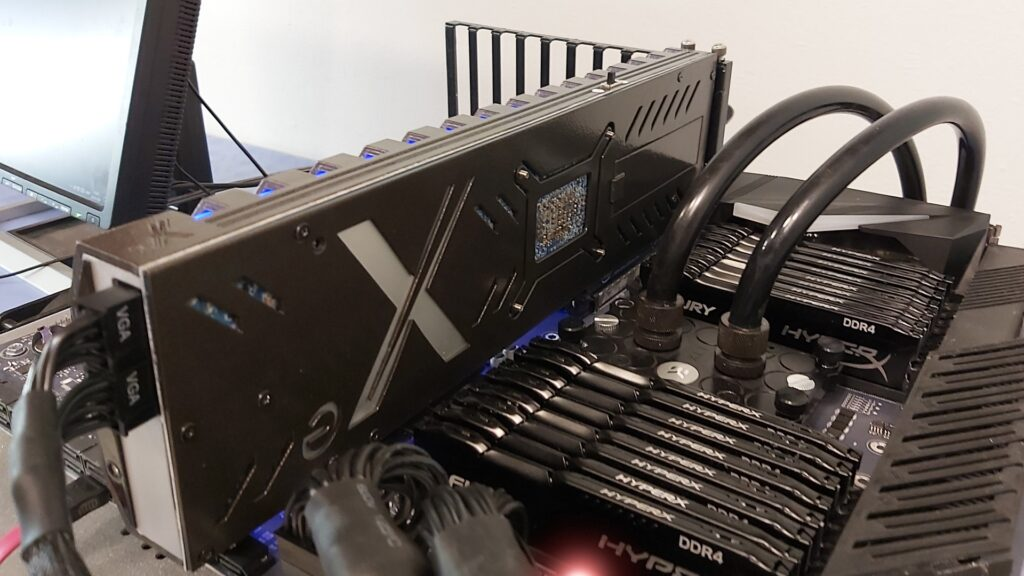 Intel Xe Eiffel 6500 graphics card installed on ASUS ROG Bitchin Extreme